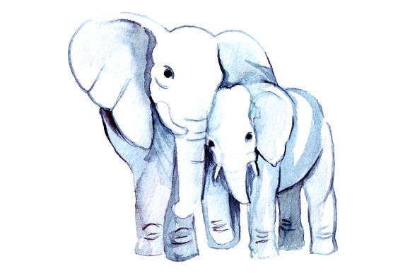 Mom and Baby Elephants in Watercolor Style Animals Craft Cut File By Creative Fabrica Crafts - Image 1