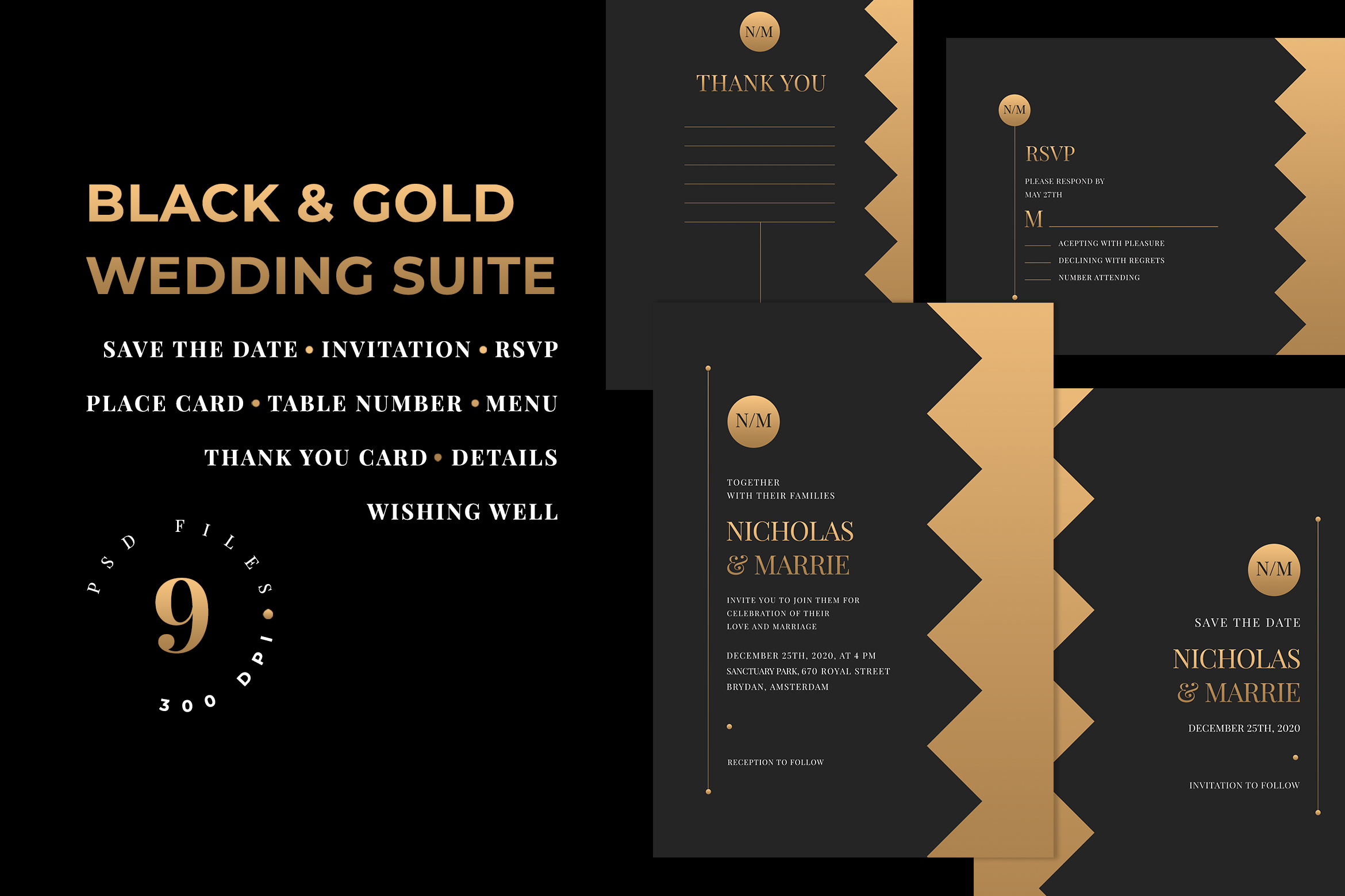 Download Free Black Gold Wedding Suite Graphic By Azka Creative Creative for Cricut Explore, Silhouette and other cutting machines.