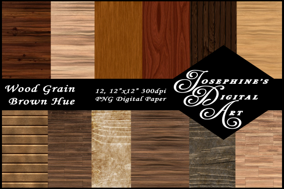 Print on Demand: Brown Wood Grain Hue Digital Paper 12 Graphic Backgrounds By Josephine's Digital Art