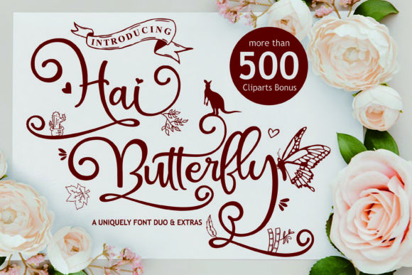 Print on Demand: Hai Butterfly Duo Script & Handwritten Font By Girinesia