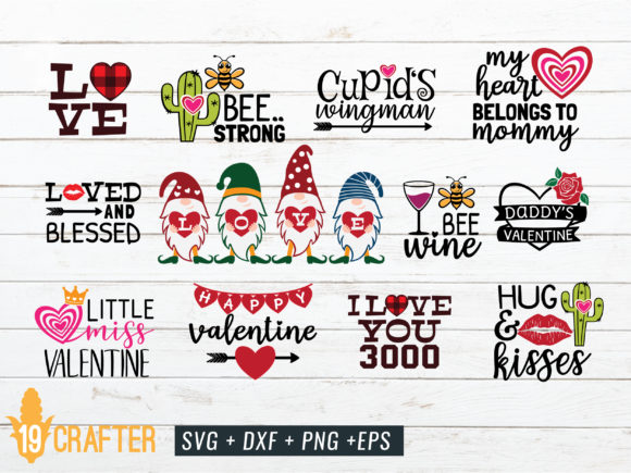 Download Free Valentine S Day Craft Bundle Volume 3 Graphic By Great19 for Cricut Explore, Silhouette and other cutting machines.