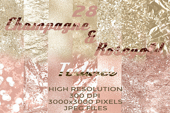 28 Champagne & Rosegold Textures Graphic Textures By Subi Designs