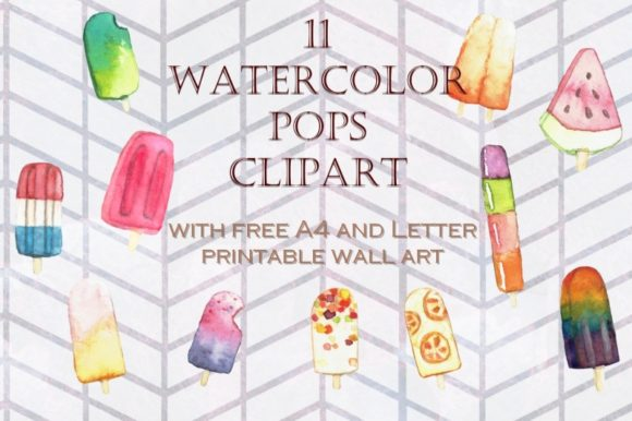 Print on Demand: 11 Hand Painted Watercolor Ice Pops Graphic Illustrations By Tubiganart - Image 1