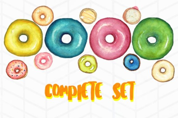 Print on Demand: 12 Watercolor Donuts Graphic Illustrations By Tubiganart - Image 2