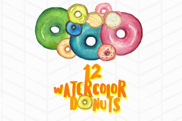 Print on Demand: 12 Watercolor Donuts Graphic Illustrations By Tubiganart - Image 3