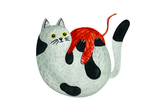 Cat Playing with Ball of Yarn -watercolor Cats Craft Cut File By Creative Fabrica Crafts