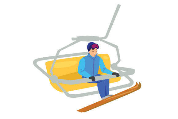 Skier on Chairlift Winter Craft Cut File By Creative Fabrica Crafts