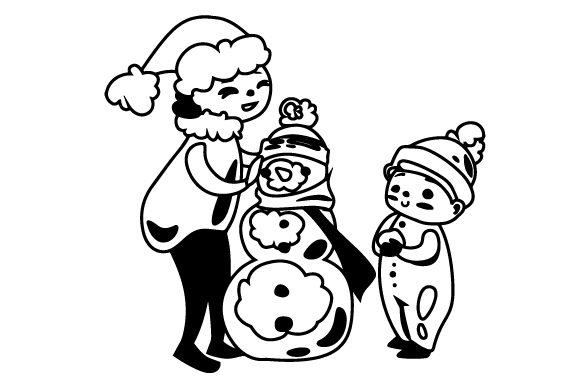 Kids Building Snowman Svg Cut File By Creative Fabrica Crafts