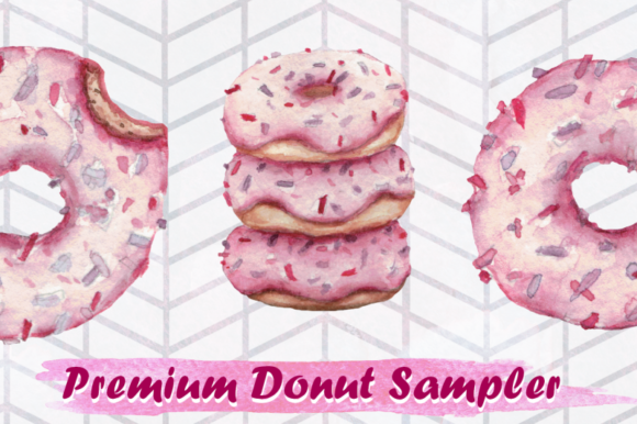 Print on Demand: 3 Premium Watercolor Donuts Graphic Illustrations By Tubiganart