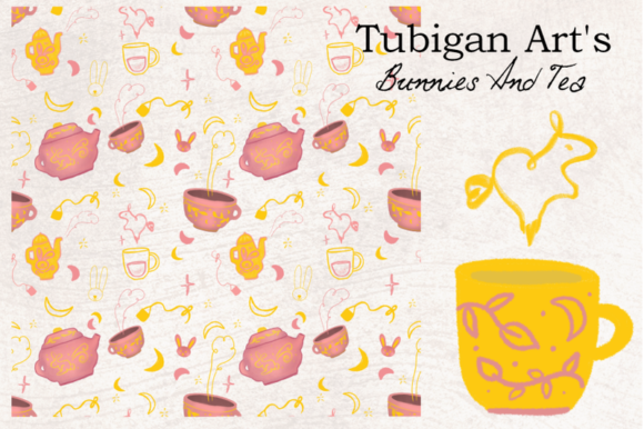 Print on Demand: 30 Bunnies and Tea Elements Packaging Graphic Illustrations By Tubiganart