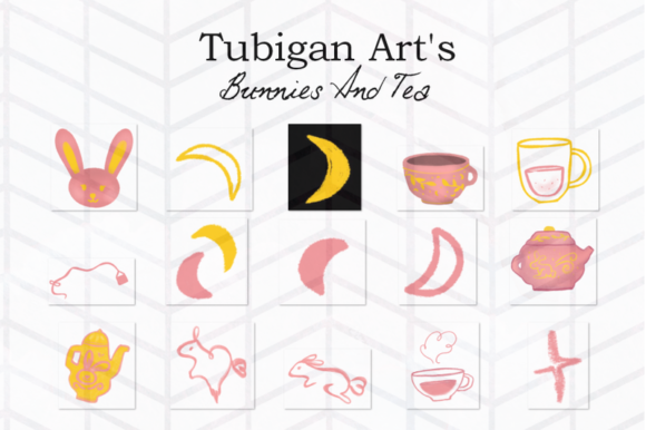 Print on Demand: 30 Bunnies and Tea Elements Packaging Graphic Illustrations By Tubiganart - Image 2