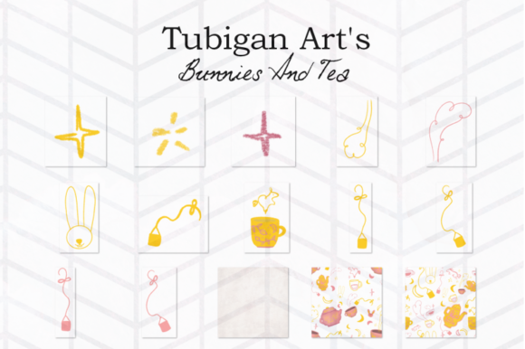 Print on Demand: 30 Bunnies and Tea Elements Packaging Graphic Illustrations By Tubiganart - Image 3