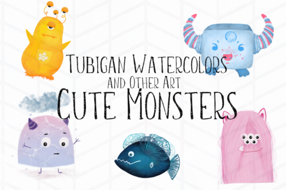 Print on Demand: 5 Cute Monsters Graphic Illustrations By Tubiganart