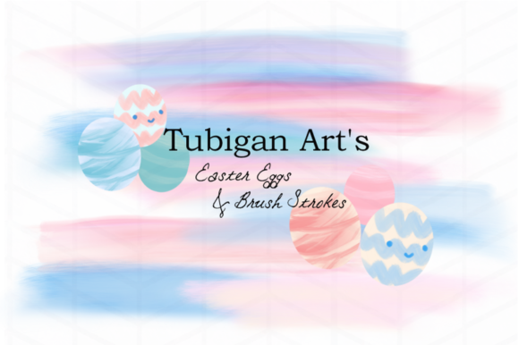 Print on Demand: 6 Easter Eggs and 8 Brush Strokes Graphic Illustrations By Tubiganart - Image 1