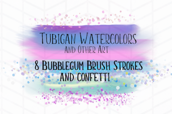 Print on Demand: 8 Brush Strokes in Bubblegum Unicorn Graphic Backgrounds By Tubiganart - Image 1