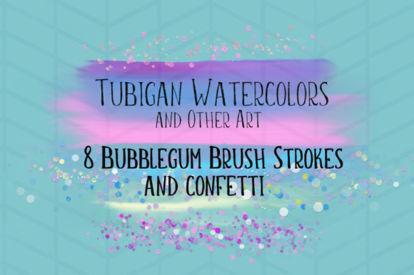 Print on Demand: 8 Brush Strokes in Bubblegum Unicorn Graphic Backgrounds By Tubiganart - Image 2