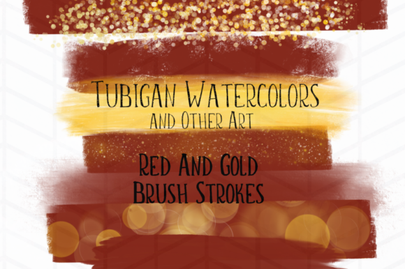 Print on Demand: 8 Red and Gold Brush Strokes Graphic Illustrations By Tubiganart