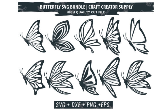 Download Free Beautiful Detail Butterfly Bundle Graphic By Great19 Creative for Cricut Explore, Silhouette and other cutting machines.