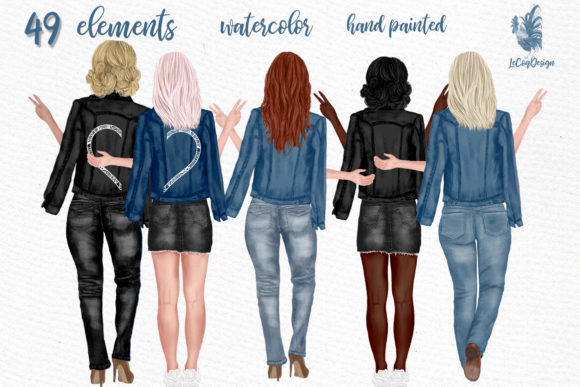 Beste Freundinnen in Jeansjacken Clipart Grafik Illustrationen von LeCoqDesign