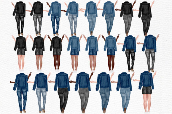Best Friends Clipart Jeans Jackets Graphic Illustrations By LeCoqDesign - Image 2