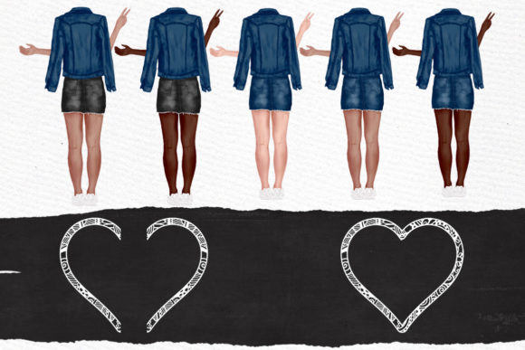 Best Friends Clipart Jeans Jackets Graphic Illustrations By LeCoqDesign - Image 3