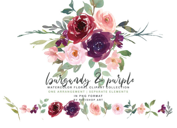 Burgundy & Purple Watercolor Floral Set Graphic Illustrations By Patishop Art