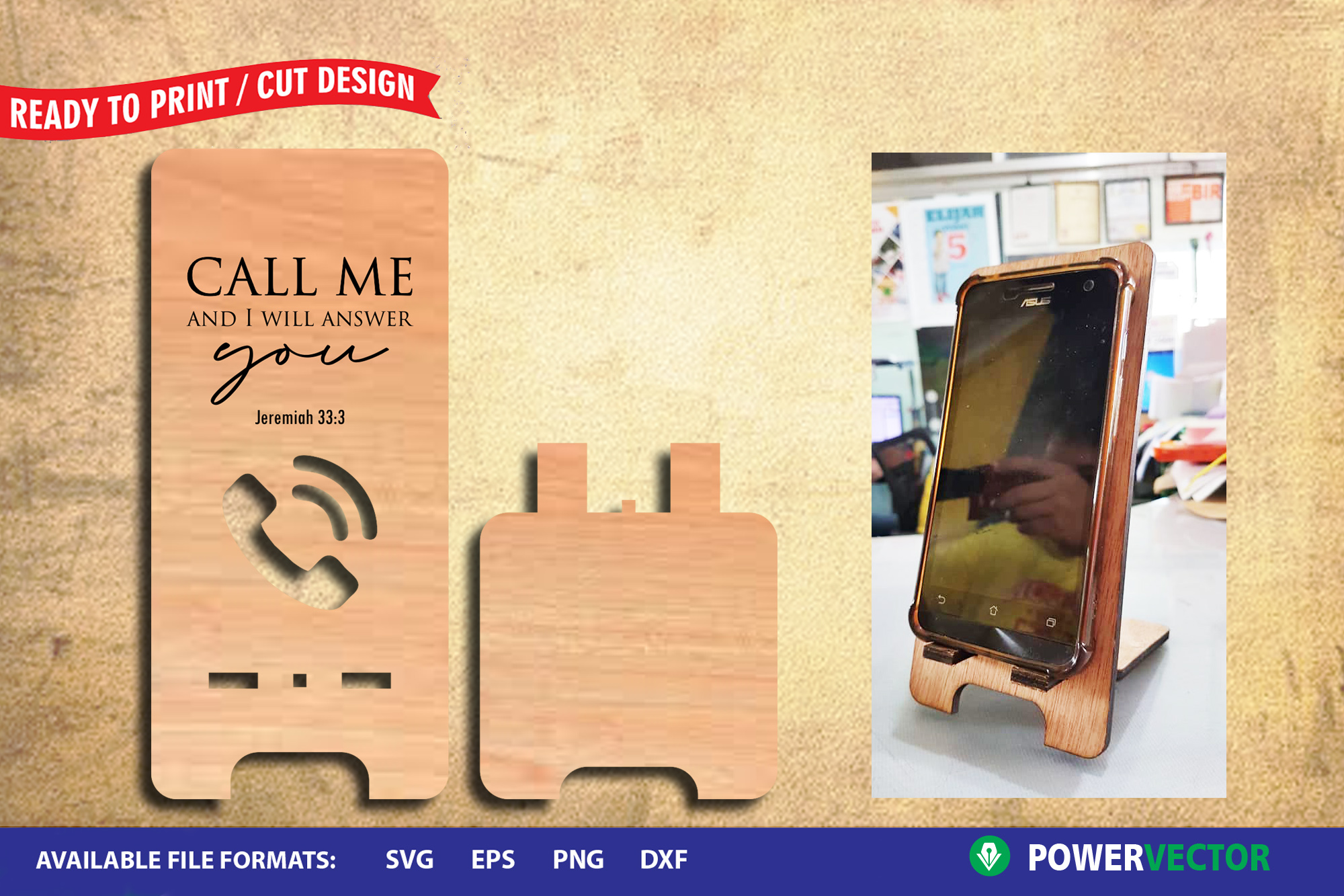 Download Free Cellphone Stand Template For Laser Graphic By Powervector for Cricut Explore, Silhouette and other cutting machines.