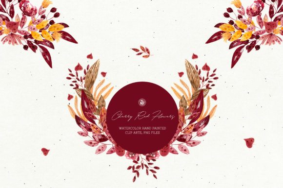 Print on Demand: Cherry Red Flowers Graphic Illustrations By webvilla