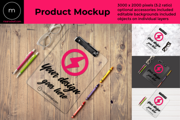 Clear Clipboard Product Mock Up Gráfico Mockups de Productos Por RisaRocksIt