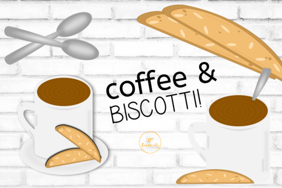 Print on Demand: Coffee and Biscotti Clip Art Graphic Illustrations By jpjournalsandbooks