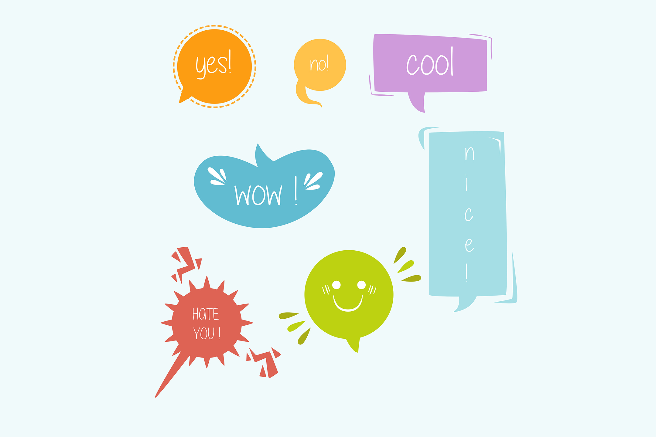 Download Free Colorful Speech Bubble With Words Graphic By Aprlmp276 for Cricut Explore, Silhouette and other cutting machines.