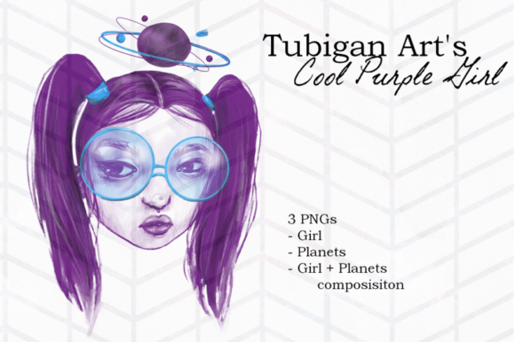 Print on Demand: Cool Purple Girl Graphic Illustrations By Tubiganart - Image 2