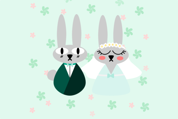 Download Free Cute Bunny Couple Wedding Illustration Graphic By Thanaporn for Cricut Explore, Silhouette and other cutting machines.