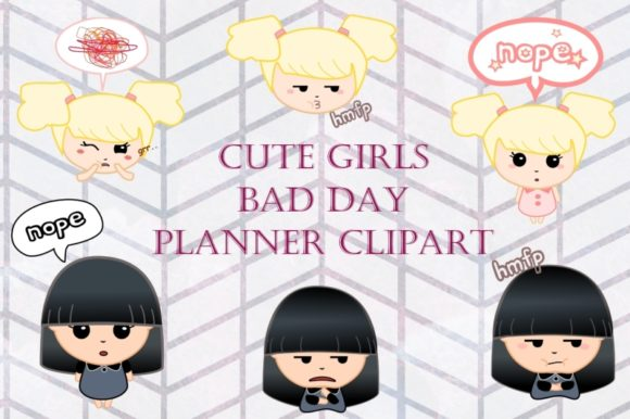 Print on Demand: Cute Girls Bad Day Planner Clip Art Graphic Illustrations By Tubiganart - Image 1