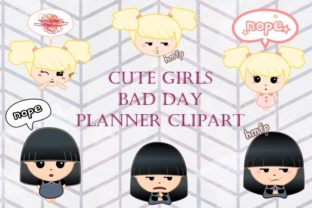 Download Free Cute Girls Bad Day Planner Clip Art Graphic By Tubiganart for Cricut Explore, Silhouette and other cutting machines.