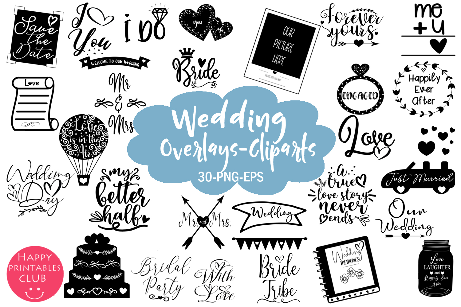 Download Free Cute Wedding Overlays Wedding Cliparts Graphic By Happy for Cricut Explore, Silhouette and other cutting machines.