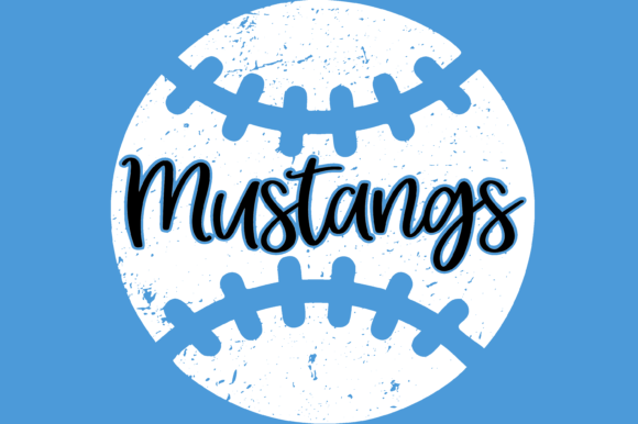 Print on Demand: Distressed Mustangs Baseball Decal Files Graphic Print Templates By AM Digital Designs