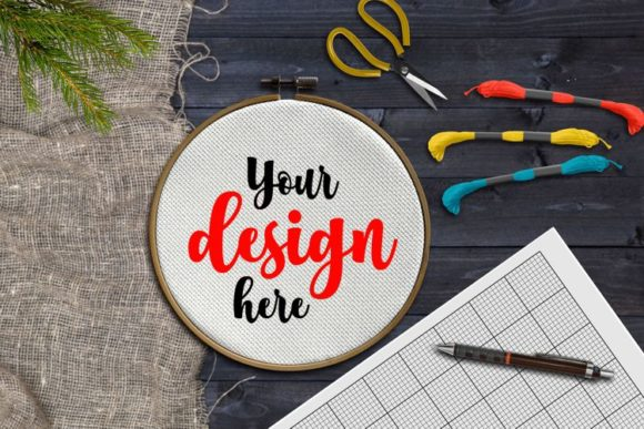 Print on Demand: Embroidery Hoop Mockup Graphic Product Mockups By Eva Barabasne Olasz