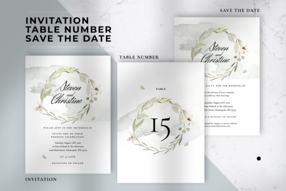 Download Free Foliage Wedding Invitation Suite Graphic By Azka Creative for Cricut Explore, Silhouette and other cutting machines.