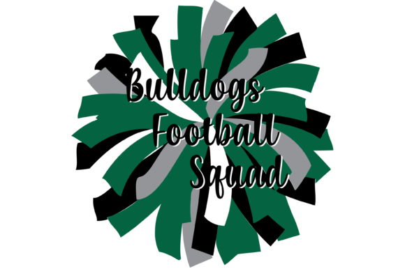 Print on Demand: Green and Black Bulldogs Football Pom Graphic Print Templates By AM Digital Designs