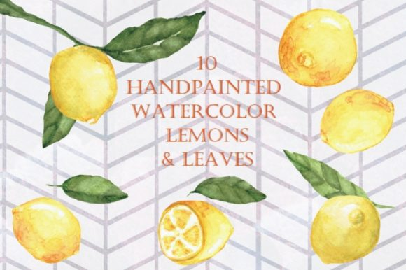 Print on Demand: Handpainted Watercolor Lemons Graphic Illustrations By Tubiganart