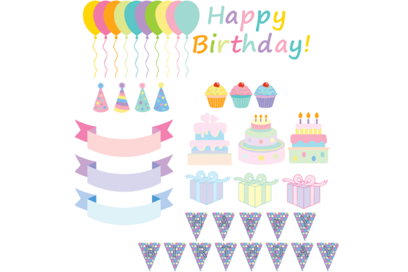 Print on Demand: Happy Birthday Glitter Clipart Graphic Illustrations By AM Digital Designs