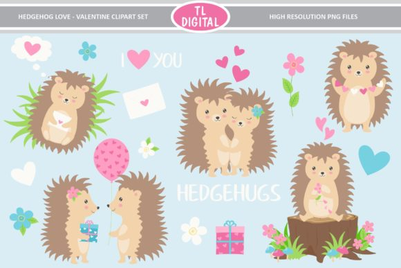 Hedgehog Love Valentines Clipart Graphic Illustrations By TL Digital