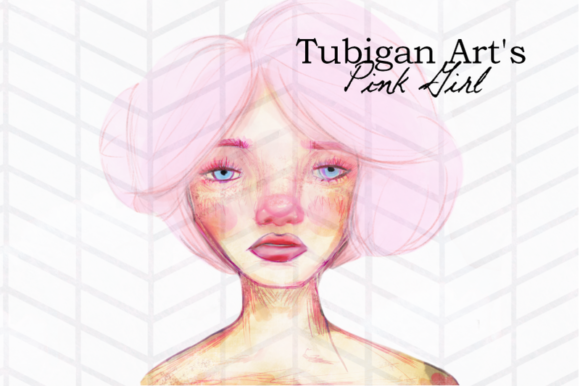 Print on Demand: Illustration of a Girl in Pink Artsy Graphic Illustrations By Tubiganart