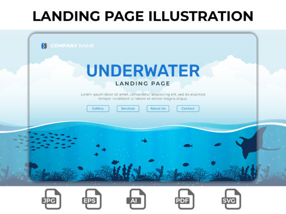 Print on Demand: Landing Page Underwater Graphic Landing Page Templates By Hendric Simarmata