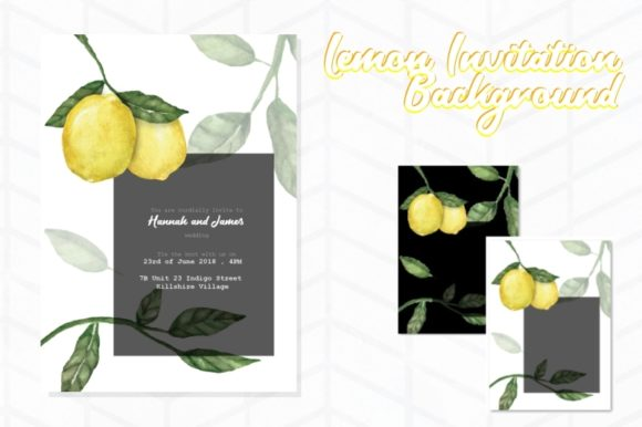 Print on Demand: Lemon Invitation Background 1 Graphic Backgrounds By Tubiganart