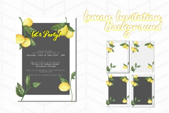 Print on Demand: Lemon Invitation Background Graphic Backgrounds By Tubiganart - Image 1