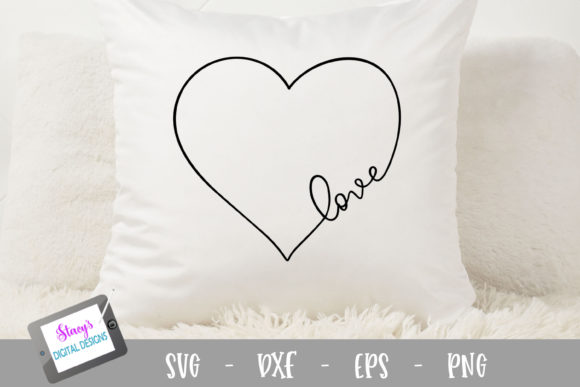 Love Handlettered in a Heart Graphic Crafts By stacysdigitaldesigns