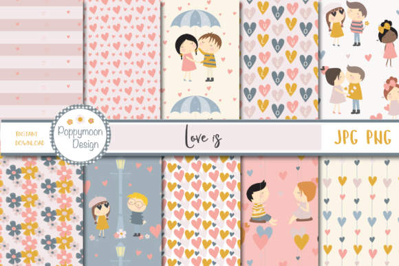 Print on Demand: Love is Paper Graphic Patterns By poppymoondesign - Image 1