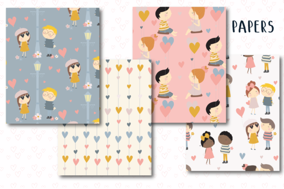 Print on Demand: Love is Paper Graphic Patterns By poppymoondesign - Image 2